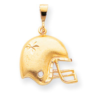 Mens 10k Yellow Gold Football Helmet Pendant