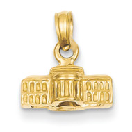 14k Yellow Gold Textured White House Bling Jewelz Pendant