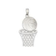 Bling Jewelz 14k White Gold Basketball Hoop Pendant