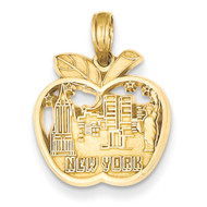 14k Yellow Gold New York Buildings Big Apple Bling Jewelz Pendant