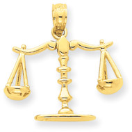 14k Yellow Gold Libra Scale of Justice Bling Jewelz Pendant