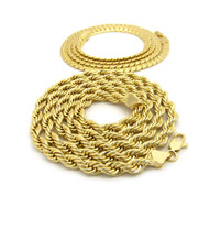 """14k Gold Hip Hop 6mm 30"""" Rope Flat Miami Cuban Link Chain"""