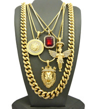 14k Gold Ultra Baller Good And Evil Halo Angel Medusa Cuban Link Set
