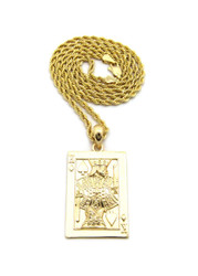 King of Spades Hip Hop Bling 14k Gold Pendant w/ Rope Chain