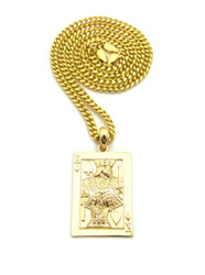 King of Spades Hip Hop Bling 14k Gold Pendant w/ Cuban Chain