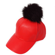 Ladies Celebrity Style Faux Leather Pom Pom Hat
