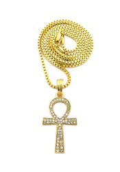 14k Gold Egyptian Ankh Cross Diamond Cz Pendant