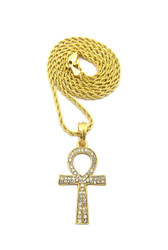 Egyptian Ankh Cross Diamond Cz 14k Gold Pendant Rope Chain