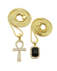 14k Gold Diamond Cz Ankh Cross Iced Out Gemstone Pendant Black