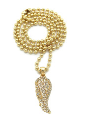 14k Gold Single Angel Wing Iced Out Pendant Gold