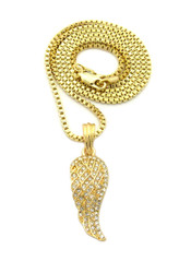 Mens 14k Gold Single Angel Wing Iced Out Pendant Gold Box Chain