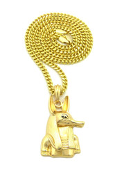 14k Gold Ancient Egyptian God Anpu Anubis Pendant Chain
