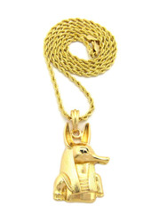 14k Gold Egyptian God Anpu Anubis Hip Hop Rope Chain