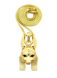 14k Gold Egyptian God Anpu Anubis Bling Pendant Box Chain