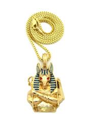14k Gold Egyptian God Anubis Enameled Cz Pendant Box Chain
