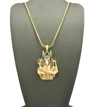 14k Gold Egyptian God Anubis Enameled Cz Pendant Box Chain