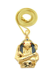 14k Gold Egyptian Horus Bird Cz Pendant Chain