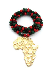 Gold Ancient African Continent Pendant Wooden Beaded Chain