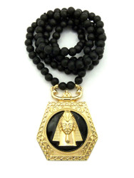 King Tut Ancient Egyptian Pendant w/ Wood Beaded Chain