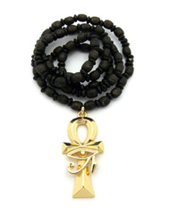 Eye Of Ra Ankh Cross Pendant w/ Wooden Beaded Chain