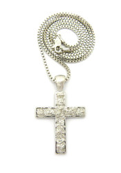 Men's Nugget Cross Pendant Chain Rhodium Silver