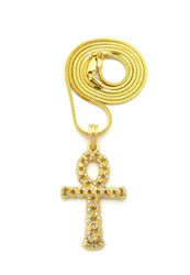 Ancient Egypt Hollow Ankh Cross Pendant Box Chain 14k Gold