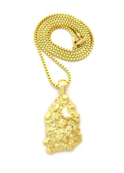 Hip Hop Gold Nugget Pendant Box Chain 14k Gold