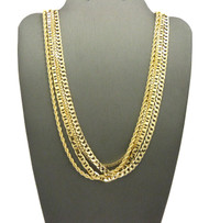 Hip Hop Rope Cuban Box & G-Link Chains Necklace Set