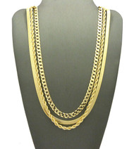 Hip Hop Herringbone Cuban Rope Chains Necklace Set