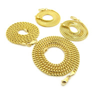 Hip Hop Box Cuban Rope Snake Link Chains Necklace Set 14k Gold