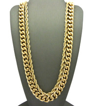 Mens Hip Hop Cuban Link Rope Chains Necklace Set 14k Gold