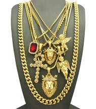 Bling King of Kings Double Lion Of Judah Ultra Baller Pendant Set