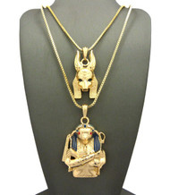 Egyptian 3D God Anubis / Horus Bird Cz Pendant Box Chain 14k Gold
