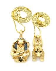 Egyptian 3D God Anubis / Horus Bird Cz Pendant Box Chain 14k Gold