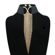 Ladies Sexy Stretch Choker Tassel Chain Earrings Set