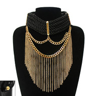 Sexy Rope Collar Choker Bling Earrings Set Gold