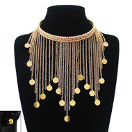 Ladies Coin Dangle Choker Chain Necklace Gold
