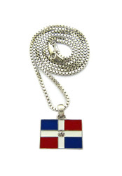 Dominican Republic Rhodium Silver Flag Pendant Chain