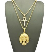 Ancient African Egyptian Queen Tiye Ankh Stone Cross Pendant