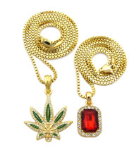 Weed Marijuana Leaf Ruby Red Gemstone Diamond Cz Pendant Chain