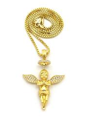 14k Gold Guardian Angel Halo Diamond Cz Pendant