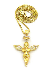 14k Gold Guardian Angel Halo Diamond Cz Pendant