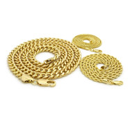 14k Gold 8mm Classic Cuban Link Rope & Box Chain Necklace Set