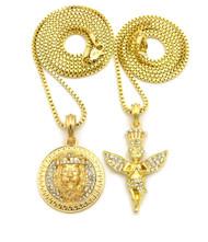 14k Gold King of Praise Guardian Angel Lion of Judah Pendant
