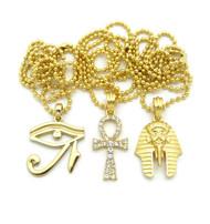 14k Gold King Tut Eye Of Heru Ankh Cross Pendant Chain Set
