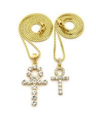 14k Double Diamond Cz Ankh Cross Pendant Box Chain Set
