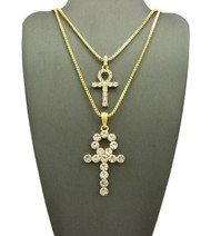 Men's 14k Double Diamond Cz Ankh Cross Pendant Box Chain Set