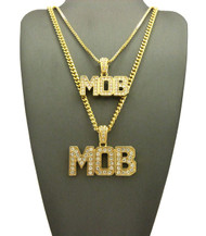 14k Gold Double MOB Diamond Cz Iced Out Cuban Link Pendant
