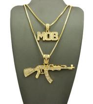 14k Gold Double M.O.B AK47 Diamond Cz Iced Out Cuban Link Pendant