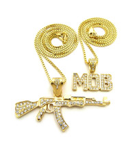 14k Gold M.O.B AK47 Diamond Cz Iced Out Pendant
